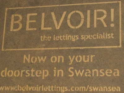Clean advertising / reverse graffiti in Swansea and Cardiff